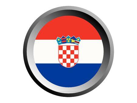 Round National Flag of Croatia Ilustração