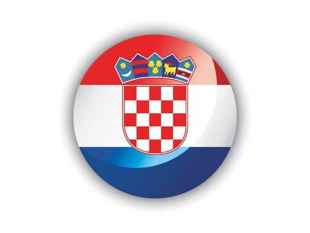 Shiny Round National Flag of Croatia
