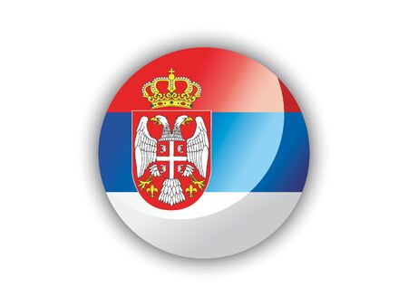 Shiny Round National Flag of Serbia