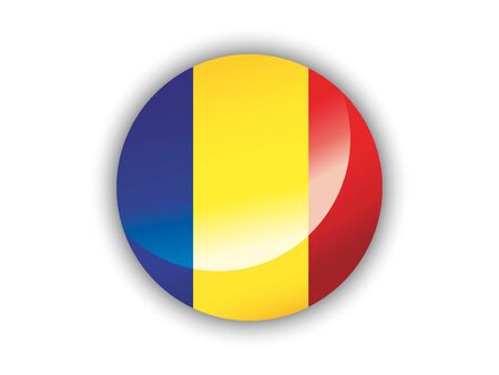 Shiny Round National Flag of Romania