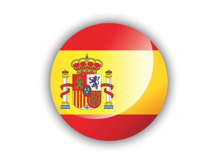 Shiny Round National Flag of Spain