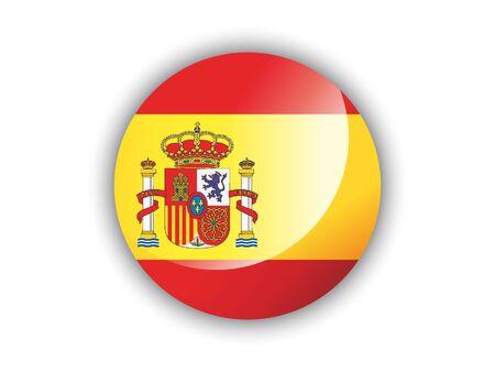Shiny Round National Flag of Spain