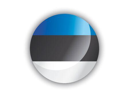Shiny Round National Flag of Estonia