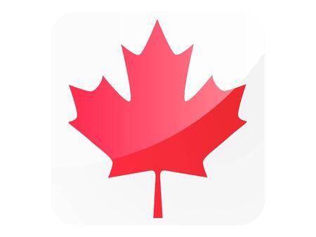 Large Shiny Reflection Square Maple Leaf of Canada