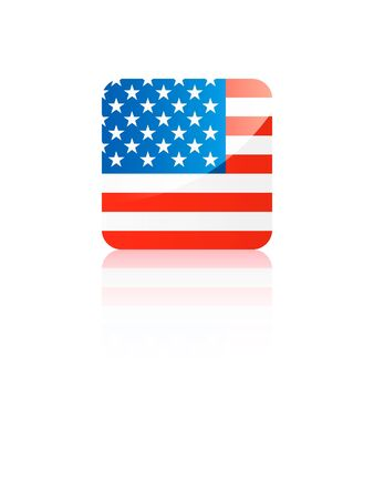 Small Shiny Reflection Square Flag of United States of America
