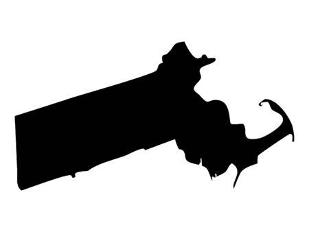 Black Map of Massachusetts 向量圖像
