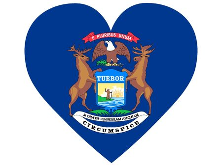 US State of Michigan Heart Flag