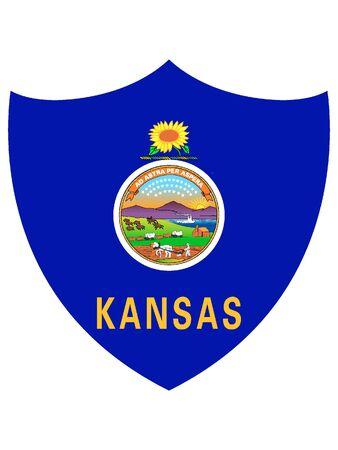 US State of Kansas Shield Flag
