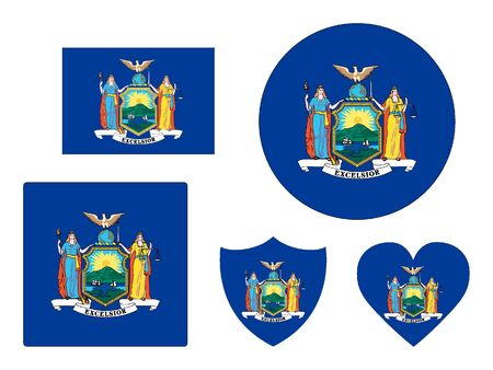 US State of New York Flags Set