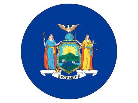 US State of New York Round Flag