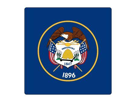 US State of Utah Square Flag