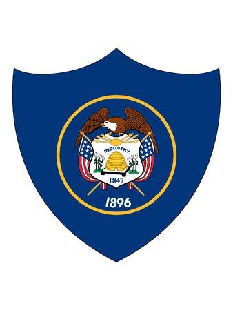 US State of Utah Shield Flag 向量圖像