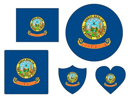 US State of Idaho Flags Set