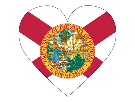 US State of Florida Heart Flag