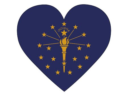 US State of Indiana Heart Flag Illustration