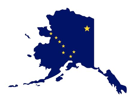 Map and Flag of Alaska Combined 矢量图像