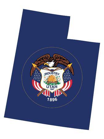 Map and Flag of Utah 向量圖像