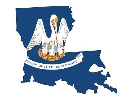 Map and Flag of Louisiana Illustration