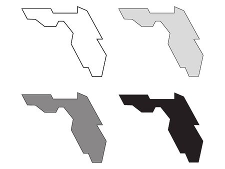 Simplified White, Gray and Black Maps of Florida Иллюстрация