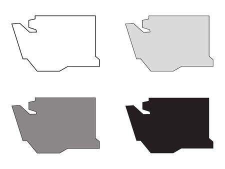 Set of Simplified White, Black and Gray Washington Maps Фото со стока - 131425824
