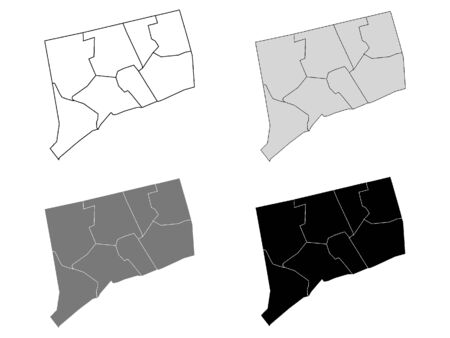 Connecticut County Map (Gray, Black, White)