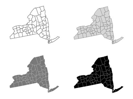 New York County Map (Gray, Black, White)