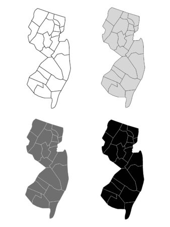New Jersey County Map (Gray, Black, White)