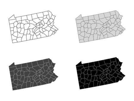 Pennsylvania County Map (Gray, Black, White)
