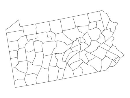 Pennsylvania County Map Иллюстрация