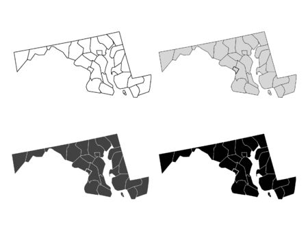 Maryland County Map (Gray, Black, White) Иллюстрация