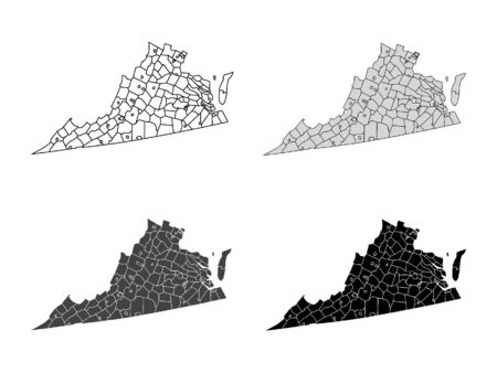 Virginia County Map (Gray, Black, White)