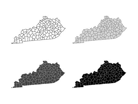 Kentucky County Map (Gray, Black, White)