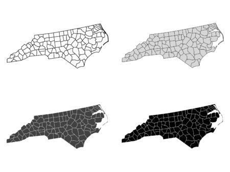 North Carolina County Map (Gray, Black, White)