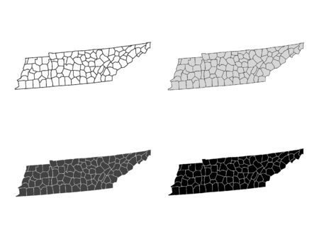 Tennessee County Map (Gray, Black, White)