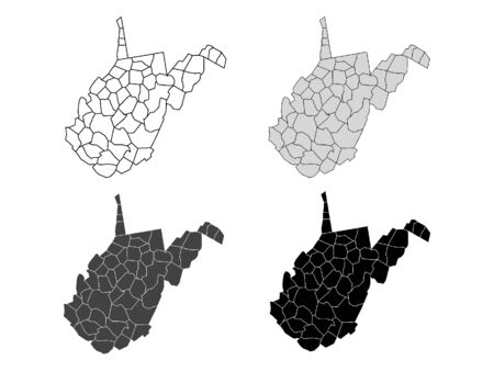 West Virginia County Map (Gray, Black, White)