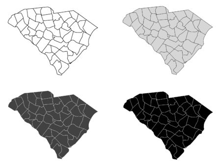 South Carolina County Map (Gray, Black, White) Иллюстрация