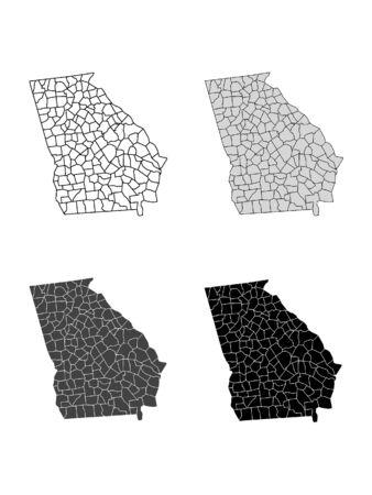 Georgia County Map (Gray, Black, White)