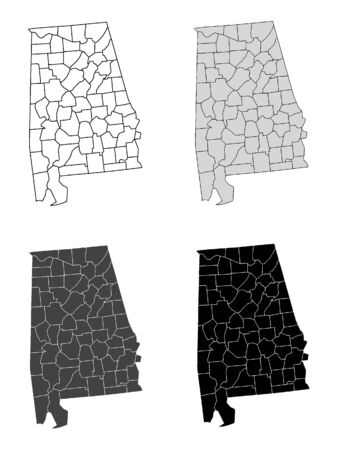 Alabama County Map (Gray, Black, White)