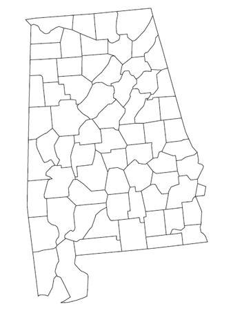 Alabama County Map Иллюстрация