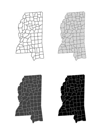 Mississippi County Map (Gray, Black, White)
