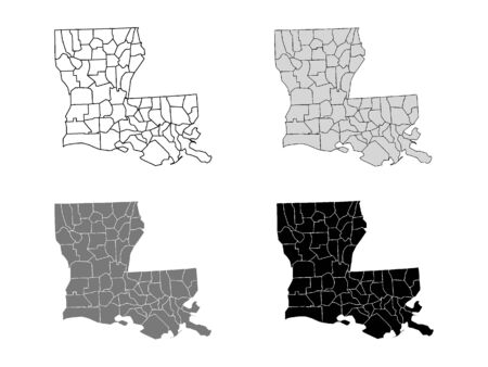 Louisiana County Map (Gray, Black, White)