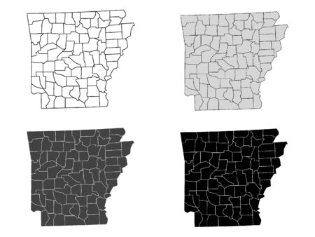 Arkansas County Map (Gray, Black, White) Иллюстрация