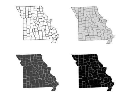 Missouri County Map (Gray, Black, White)