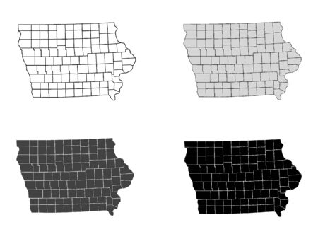 Iowa County Map (Gray, Black, White)