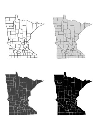 Minnesota County Map (Gray, Black, White) Иллюстрация