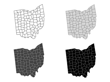 Ohio County Map (Gray, Black, White)