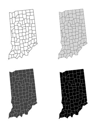 Indiana County Map (Gray, Black, White)