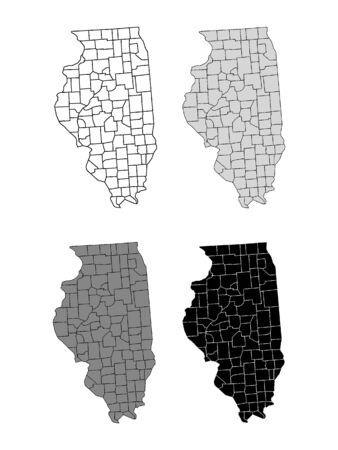 Illinois County Map (Gray, Black, White)