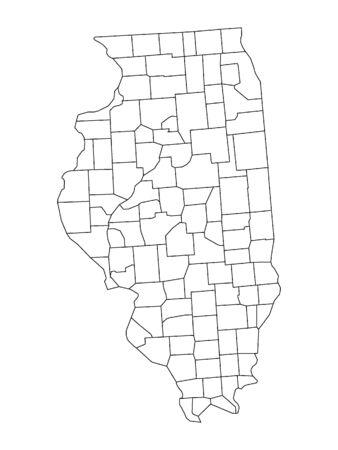 Illinois County Map Иллюстрация