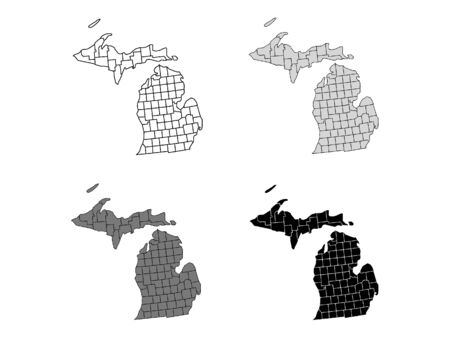 Michigan County Map (Gray, Black, White)